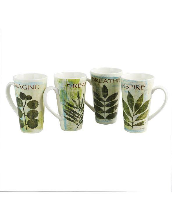 Nature Pressed 16 Ounce Cone Shape Mug - Set of 4