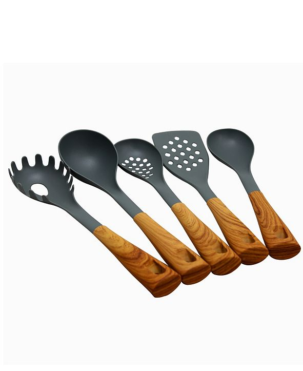 Oster Everwood Kitchen Nylon Tools Set with Wood Inspired Handles, Set of 5