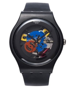 Swatch Watch, Unisex Swiss Black Lacquered Black Silicone Strap 41mm SUOB101