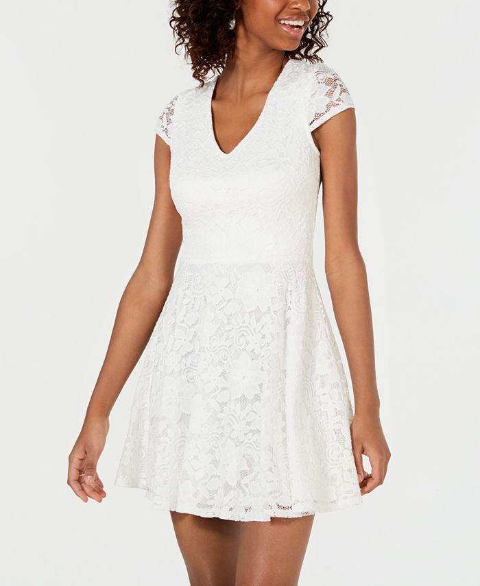 B Darlin Juniors Lace Tie Back Fit Flare Dress Reviews Dresses Juniors Macy S