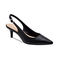 Alfani Women's Step 'N Flex Babbsy Pointed-Toe Slingback Pumps (Black Leather)