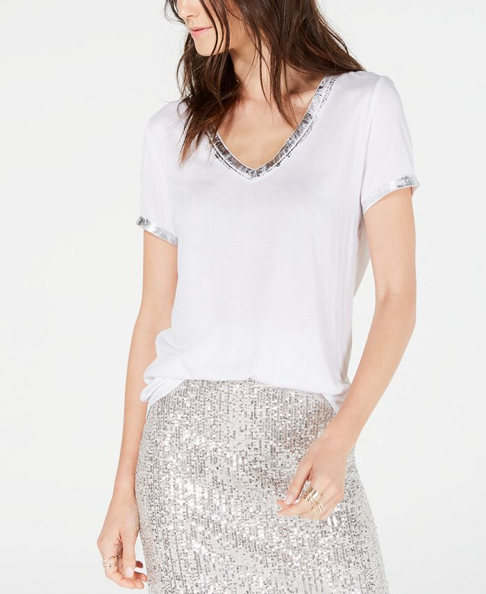 INC International Concepts - Metallic-Trim T-Shirt