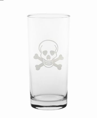Skull and Cross Bones Cooler Highball 15Oz - Set Of 4 Glasses