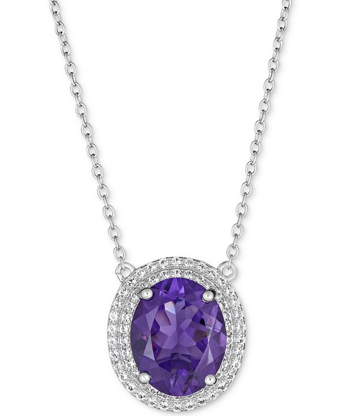 "Macy's - Amethyst (5-1/2 ct. t.w.) & White Topaz (1 ct. t.w.) 17"" Pendant Necklace in Sterling Silver (also available in Amethyst)"