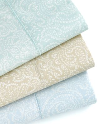 Martha Stewart Collection Bedding, 400 Thread Count Cotton Paisley Queen Fitted Sheet