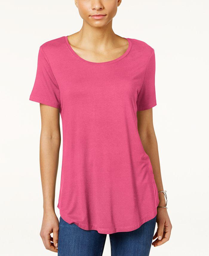JM Collection - Petite Shirttail-Hem Top