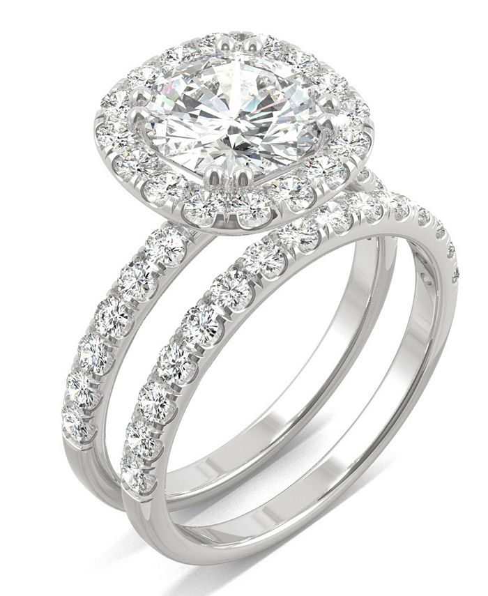 Charles Colvard Moissanite Bridal Set 2 7 8 Ct T W Diamond Equivalent In 14k White Gold Reviews Rings Jewelry Watches Macy S