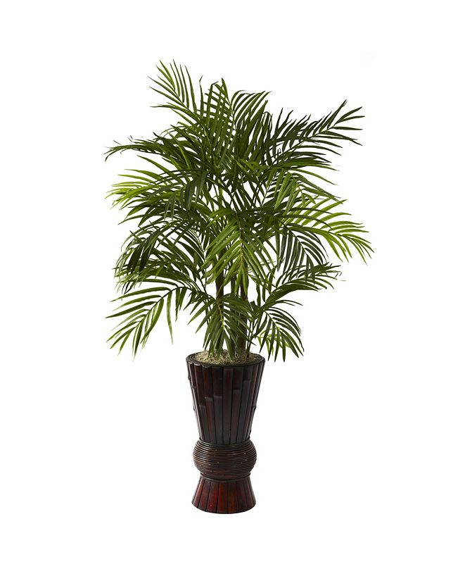 Nearly Natural 4' Areca w/ Bamboo Planter
