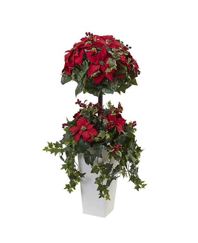 Nearly Natural 4' Poinsettia Berry Topiary w/ Decorative Planter