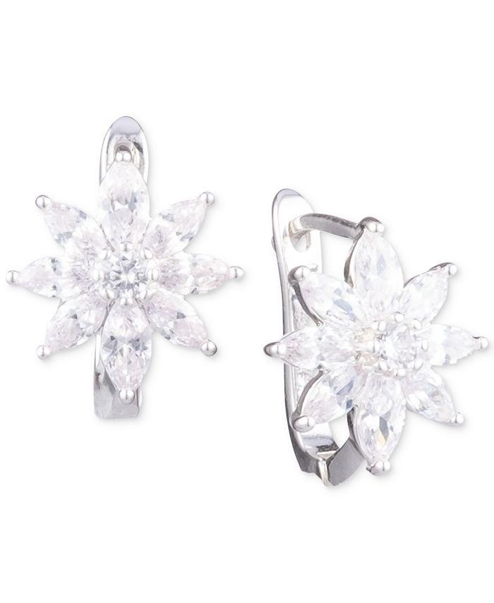 Anne Klein - Silver-Tone Crystal Flower Stud Earrings