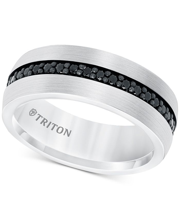 Triton - Black Sapphire Band (7/8 ct. t.w.) in White Tungsten Carbide