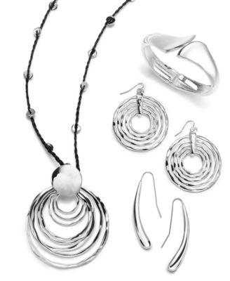 Large Silver-Tone Hammered Ring Orbital Earrings
