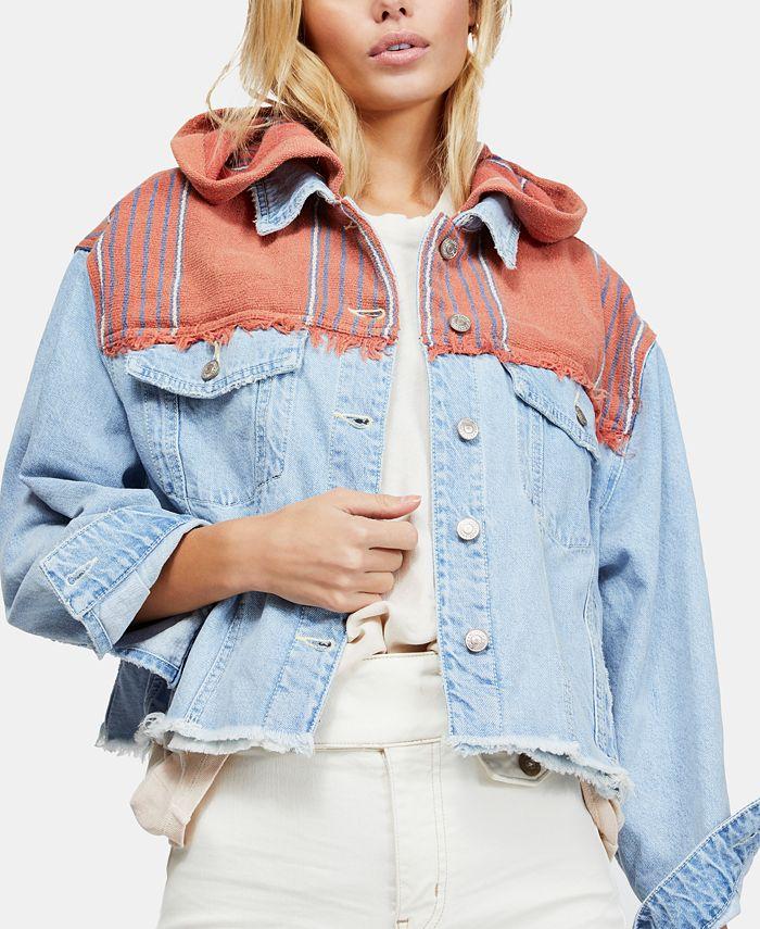 Free People - Mixed-Media Hooded Denim Jacket