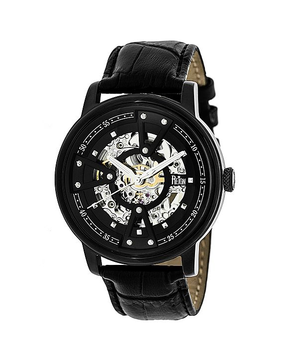 Reign Belfour Automatic Black Case, Genuine Black Leather Watch 44mm
