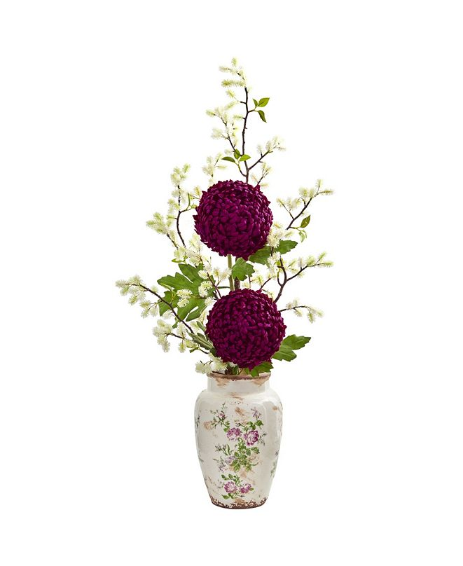 "Nearly Natural 39"" Mum and Thistle Artificial Arrangement in Floral Vase"