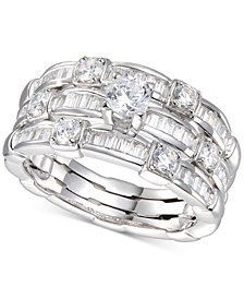 Cubic Zirconia Triple Row Band Ring in Sterling Silver