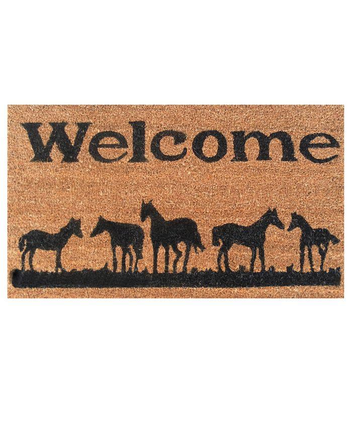 """Home & More - Horses Welcome 17"""" x 29"""" Coir/Vinyl Doormat"""