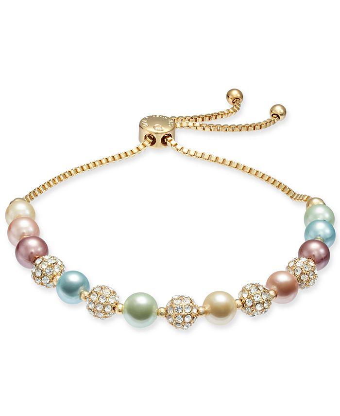 Charter Club - Pavé & Imitation Pearl Slider Bracelet