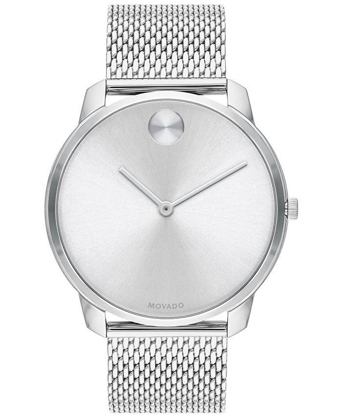 Movado - Men's Swiss Bold Stainless Steel Mesh Bracelet Watch 42mm