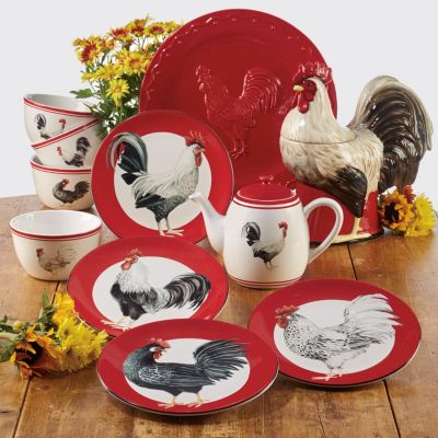 Homestead Rooster 4-Pc. Ice Cream Bowl