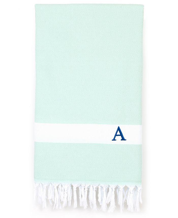 Linum Home - Personalized Diamond Pestemal Beach Towel Soft Aqua
