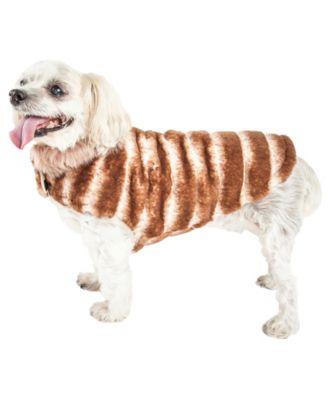 Luxe 'Tira-Poochoo' Tiramisu Patterned Faux Fur Dog Coat Jacket