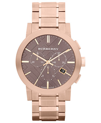 burberry s swiss chronograph gold ion