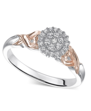 Diamond Ring, Sterling Silver and 14k Rose Gold Diamond Engagement Ring (1/6 ct. t.w.)