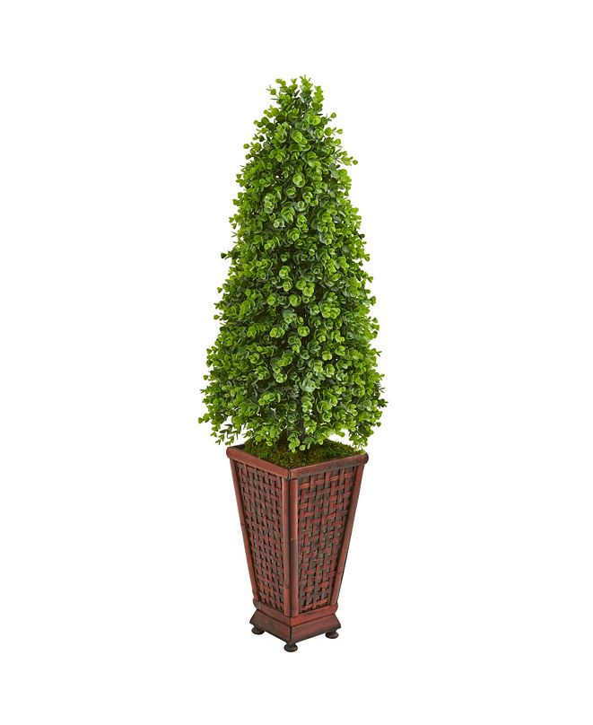Nearly Natural 4' Eucalyptus Cone Topiary Artificial Tree in Decorative Planter