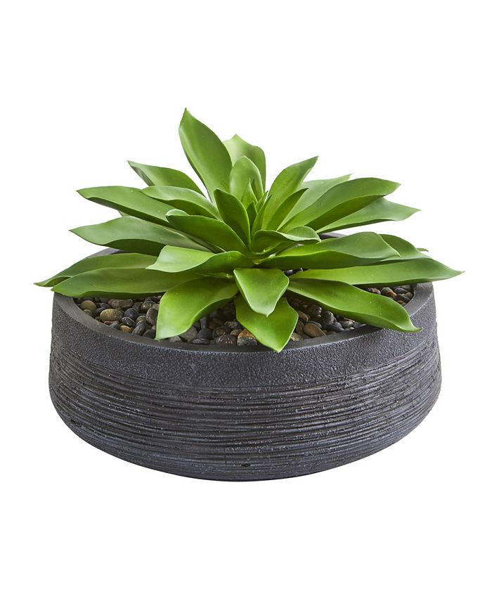 Nearly Natural - Large Succulent Artificial Plant in Decorative Bowl