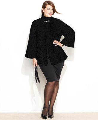 Betsey Johnson Plus Size Coat Bell Sleeve Mod Trapeze