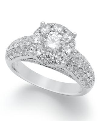 Diamond Bridal Ring Set in 14k White Gold 2 ct tw Rings