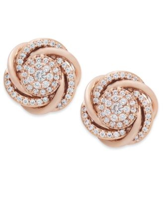 Wred In Love Diamond Earrings 14k Rose Gold Pave Knot 3 4 Ct T W