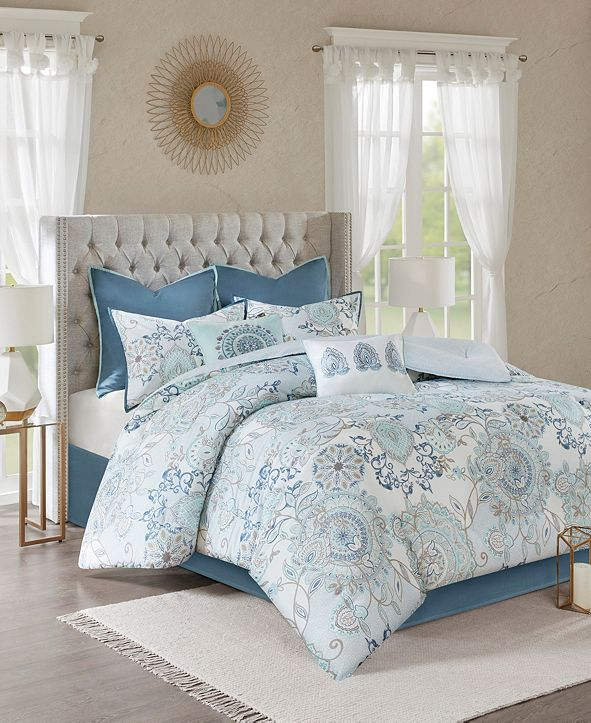 JLA Home Madison Park Isla Queen 8 Piece Cotton Printed Reversible Comforter Set