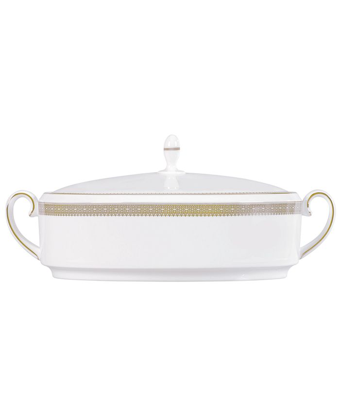 """Vera Wang Wedgwood - """"Lace Gold"""" Covered Vegetable, 1.5 Qts."""