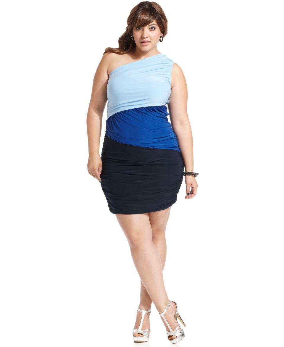 Soprano Plus Size Dress, One Shoulder Colorblocked Ruched   Dresses