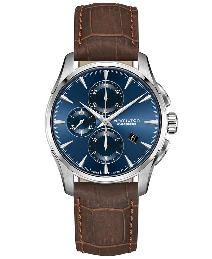 Hamilton - Men's Swiss Automatic Chronograph Jazzmaster Brown Leather Strap Watch 42mm