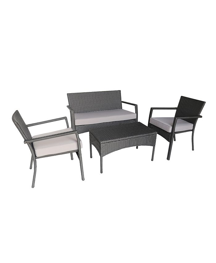 Noble House - Cancune Outdoor 4pc Seating Set, Quick Ship