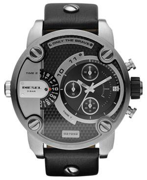 Diesel Men's Little Daddy DZ7256 Black Leather Analog Quartz Watch 710224