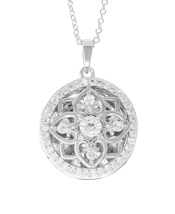 With You Lockets - White Topaz (2-3/4 ct. t.w.) Photo Locket Necklace in Sterling Silver