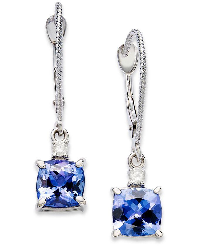 Macy's - 14k White Gold Earrings, Tanzanite (2-1/5 ct. t.w.) and Diamond Accent Cushion Earrings