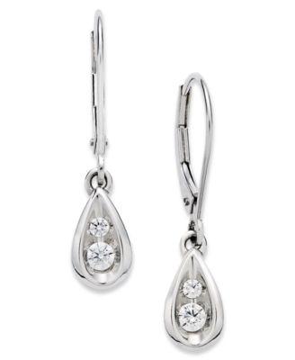 Diamond Teardrop Earrings in 14k White Gold 1 2 ct t w