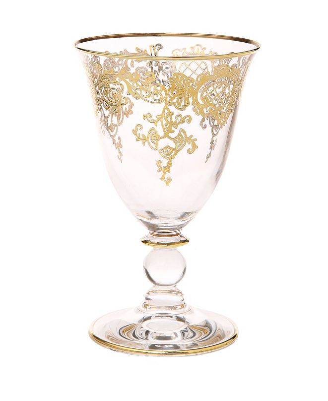 Classic Touch 8oz Wine Glasses with 24K Gold Design, Set of 6