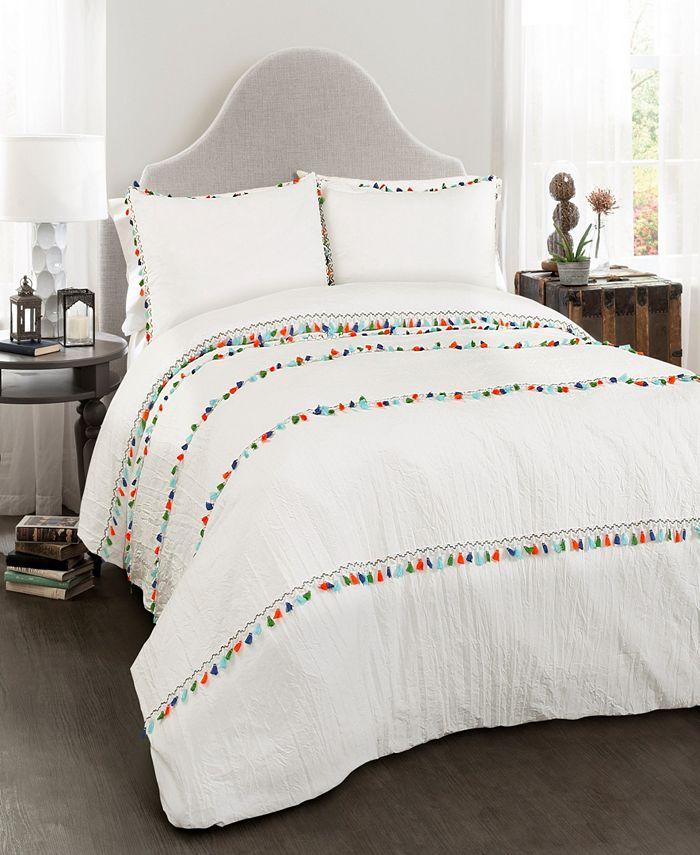 Lush Décor - Boho Tassel Comforter White 3Pc Set Full/Queen