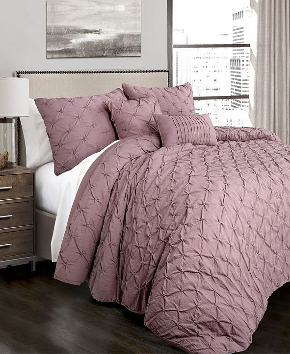 Lush Decor Ravello Pintuck 5-Piece Full/Queen Comforter Set