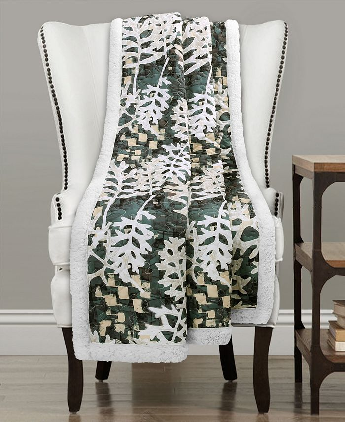 Lush Décor - Camouflage Leaves Sherpa Throw Green