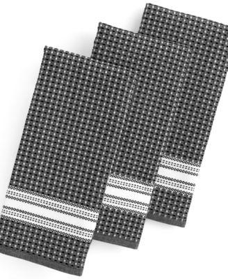 Martha Stewart Collection Kitchen Towels, Set Of 3 Waffle Weave Black