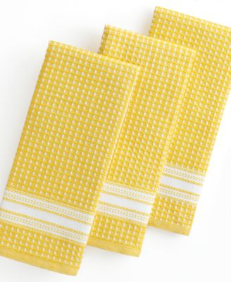 Martha Stewart Collection Kitchen Towels, Set of 3 Waffle Weave Yellow