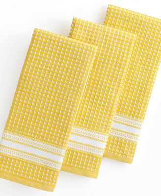 Martha Stewart Collection Kitchen Towels Set Of 3 Waffle Weave Yellow Kitchen Gadgets