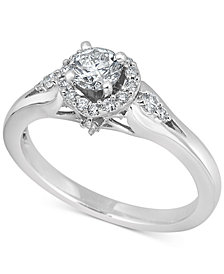 Diamond Halo Engagement Ring (5/8 ct. t.w.) in 14k White Gold